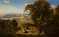 , Thomas Hartley Cromek (British, 1809-1873). A view of theUmbrian campagna with Spoleto in the distance and a goatherdand...