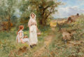 Fine Art - Painting, European:Other , Henry John Yeend King (British, 1855-1924). Two blackberrygatherers. Oil on canvas. 20 x 30 inches (50.8 x 76.2 cm).Si...