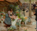Miscellaneous, Louis Marie de Schryver (French, 1862-1912). Le marché auxfleurs de la Madeleine, 1891. Oil on canvas. 21-1/2 x 25-3/4...