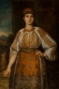 Fine Art - Sculpture, European:Antique (Pre 1900), Gustav Gaul (German, 1836-1888). A woman in folk dress,1886. Oil on canvas laid down on masonite. 50 x 34-1/4 inches (1...