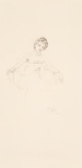 Fine Art - Work on Paper:Drawing, Alphonse Mucha (Czechoslovakian, 1860-1939). Étude de femme,1900. Pencil on paper. 24-1/2 x 14-1/2 inches (62.2 x 36.8 ...