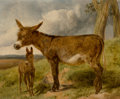 Fine Art - Painting, European:Antique  (Pre 1900), John Frederick Herring (British, 1795-1865). Donkeys, 1852.Oil on panel. 9-3/4 x 12 inches (24.8 x 30.5 cm). Signed and...