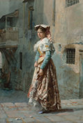 Fine Art - Work on Paper:Watercolor, José Tapiro y Baro (Spanish, 1830-1913). A young woman in herfinery. Watercolor on board heightened with white and gum ...