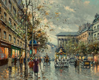 Antoine Blanchard (French, 1910-1988) Boulevard de la Madeleine Oil on canvas 18 x 22 inches (45