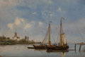 Fine Art - Painting, European:Antique  (Pre 1900), Petrus Paulus Schiedges (Dutch, 1812-1876). Moored fishing boatswith windmills in the background; Shipping in a light bre...(Total: 2 Items)