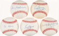 Autographs:Baseballs, Brooklyn Dodgers Greats Single Signed Baseball Collection (5). ...
