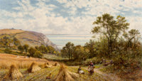 Alfred Augustus Glendening Senior (British, 1840-1910) Near Luccombe, Isle of Wight, 1900 Oil on can