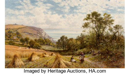 Alfred Augustus Glendening Senior (British, 1840-1910) Near Luccombe, Isle of Wight, 1900 Oil on canvas 24 x 42 inche...