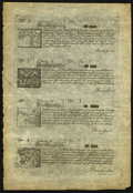 Colonial Notes:New Hampshire, NH - New Hampshire June 20, 1775 Uncut Sheet of Four Reprint Notesfrom the Original Plate.. ...