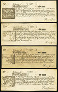 Colonial Notes:New Hampshire, NH - Lot of 4 New Hampshire June 20, 1775 Series Reprint Notes fromthe Original Plate.. ... (Total: 4 notes)