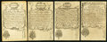 Colonial Notes:New Hampshire, NH - Lot of 4 New Hampshire April 1, 1737 Redated Augt. 7, 1740Reprint Note Faces from the Original Plate.. ...