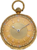 Timepieces:Pocket (pre 1900) , Stone & Allen Shrewsbury18k Gold Lever Fusee With Fancy Dial,circa 1830's. ...