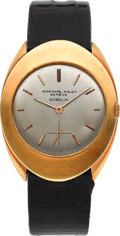 Timepieces:Wristwatch, Audemars Piguet Unusual 18K Gold Oval Wristwatch Retailed ByGubelin, Ref. 5146BA, Circa 1960. ...