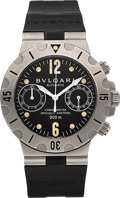 Timepieces:Wristwatch, Bulgari Diagono Scuba Ref. SCB 38 S Automatic Diver's Chronograph Wristwatch. ...