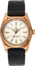 Timepieces:Wristwatch, Rolex Ref. 5050 Rose Gold Bubble Back, circa 1948. ...
