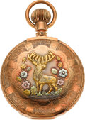 Timepieces:Pocket (pre 1900) , Waltham 18 Size Multicolor Gold Box Hinge With O'Hara Fancy Dial,circa 1895. ...