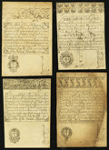Colonial Notes:Rhode Island, RI - Lot of 4 Rhode Island July 5, 1715 Redated 1737 Reprint NoteFaces from the Original Plate.. ... (Total: 4 notes)