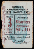 Baseball Collectibles:Tickets, 1921 World Series Game Three Ticket Stub. ...