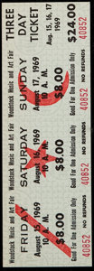 Miscellaneous Collectibles, 1969 Woodstock Music and Art Fair: Unused Three Day Ticket....