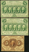 Fractional Currency:First Issue, United States Fractional Currency - Lot of 3 First Issue PerforatedEdge Postage Currency Notes. . ... (Total: 3 notes)