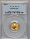 Modern Bullion Coins: , 1993 $5 Tenth-Ounce Gold Eagle MS70 PCGS. PCGS Population: (25). NGC Census: (234). ...