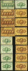 United States Fractional Currency - Lot of 16 First Issue Straight Edge Postage Currency Notes