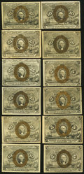 United States Fractional Currency - Lot of 12 Second Issue Higher Grade Notes