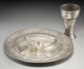 Decorative Arts, Continental:Other , Kayserzinn Jugendstil Pewter Sweetmeat Platter and Chalice withMoth Motif. Circa 1900. Stamped and incised KAYSERZINN, 4310...(Total: 2 Items)