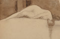 Works on Paper, 19th-Century European School. Reclining Female Nude. Ink on paper, in original period frame. 2-3/4 x 4-1/8 inches (6.9 x...
