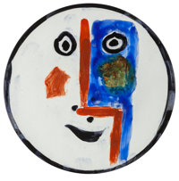 Pablo Picasso (Spanish, 1881-1973) Visage no. 193 Terre de faience plate, partially glazed 10 inc