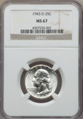 Washington Quarters, 1943-D 25C MS67 NGC. NGC Census: (146/1). PCGS Population: (76/1). CDN: $650 Whsle. Bid for problem-free NGC/PCGS MS67. Min...