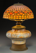 Art Glass:Tiffany , George Wood Tiffany Studios-Style Leaded Glass, Ceramic, and GiltMetal Acorn Table Lamp. Circa 1915. Ht. 18-1/4...