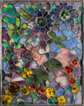 Art Glass:Other , George Wood Tiffany Studios-Style Leaded Glass Floral Panel. Circa1915. Ht. 18-1/8 x 14-1/2 in.. ...
