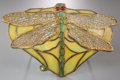 Art Glass:Other , George Wood Tiffany Studios-Style Dragonfly Plaque. Circa1915. Ht. 6 x 10 in. (plaque). ...