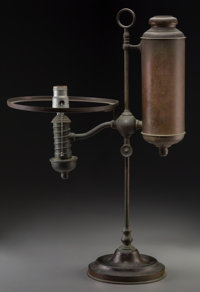 George Wood Tiffany Studios-Style Patinated Bronze Student Lamp Base Early 20th century and later Ht. 24-1/2 in