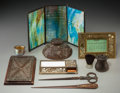 Art Glass:Other , Nine George Wood Tiffany Studios and Associated Glass and BronzeDesk Articles. Early 20th century. Marks: (various). Ht. 12...(Total: 9 Items)