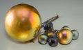 Art Glass:Tiffany , Eight George Wood Tiffany Studios-Style Iridescent Globes. Circa1915. Di. 4-1/2 in.. ... (Total: 8 Items)