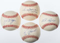 Autographs:Baseballs, Baseball Greats Single Signed Baseballs Lot of 4 - IncludingMorgan, Appling, Jackson, & Brock. ...