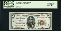 Fr. 1850-G* $5 1929 Federal Reserve Bank Note. PCGS Very Choice New 64PPQ