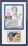 Autographs:Others, Johnny Podres and Sandy Amoros Signed & Framed Display Piece....