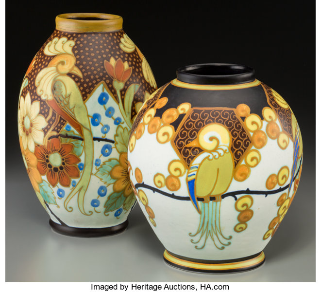 Two Charles Catteau For Boch Freres Enameled Earthenware Lot