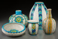 Ceramics & Porcelain, Continental:Modern  (1900 1949)  , Five Charles Catteau For Boch Freres Enameled Earthenware Table Articles. Circa 1925. Stamped and incised MADE IN BELGIUM, B... (Total: 5 Items)
