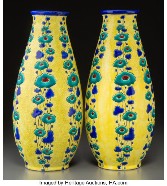Pair Of Charles Catteau For Boch Freres Enameled Earthenware Lot