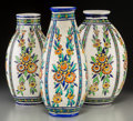 Ceramics & Porcelain, Continental:Modern  (1900 1949)  , Three Charles Catteau For Boch Freres Enameled Earthenware Vases. Circa 1924. Stamped and incised MADE IN BELGIUM, BOCH FES,... (Total: 3 Items)