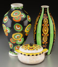 Ceramics & Porcelain, Three Charles Catteau for Boch Freres Enameled Earthenware Vessels. Circa 1923-1924. Stamped and incised MADE IN BELGIUM, BO... (Total: 3 Items)