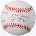 Autographs:Baseballs, Frank Thomas Single Signed Stat Baseball, PSA Mint+ 9.5. ...