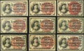 United States Fractional Currency - Lot of 9 Fourth Issue 10 Cents Notes