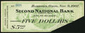 Obsoletes By State:Ohio, Hamilton, OH- Second National Bank $5 Nov. 9, 1907. ...