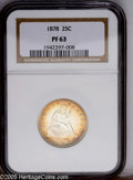 Proof Seated Quarters: , 1878 25C PR63 NGC. Type Two Reverse. Nearing cameo contrast on bothsides with an appealing ring of apricot-gold patina on ...