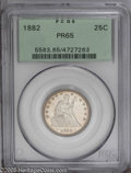 Proof Seated Quarters: , 1882 25C PR65 PCGS. A pleasing coin which has hazy silver-gray inthe fields and enough frost on the devices to please the ...